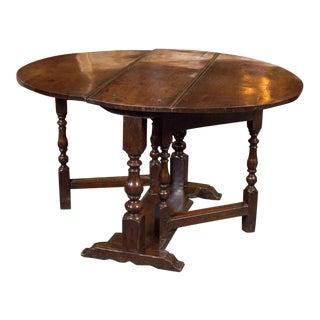 1750 English Diminutive Oak Gateleg Dining Table For Sale
