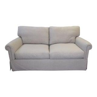 Loro Piana Fabric Rolled Arm Down Construction Sofa
