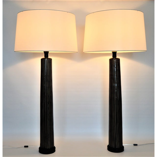 Large tall contemporary bamboo black resin table lamps signed large tall contemporary bamboo black resin table lamps signed ogetti r aloadofball Gallery