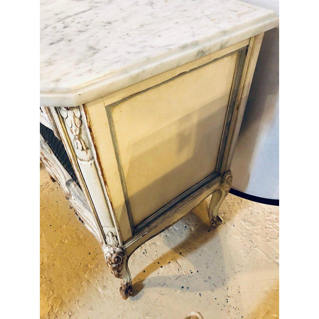 Marble A Distressed Pair of Louis XV Style Marble Top End Tables Bed/Night Side Stand For Sale - Image 7 of 12