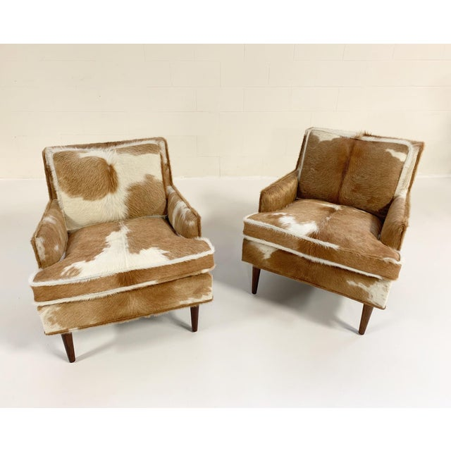 Mid-Century Modern Flair Inc. Lounge Chairs Restored in Brazilian Cowhide - Pair For Sale - Image 3 of 10