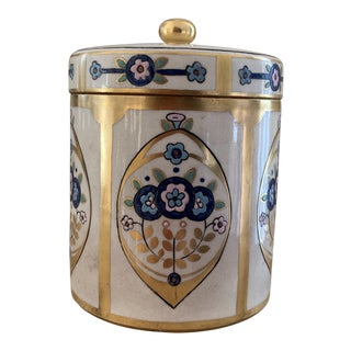 Fine Antique Art Deco Hand Painted Lidded Canister For Sale