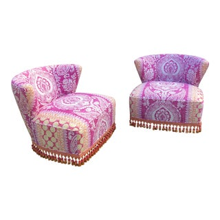 Mid-Century Modern Block Print Pattern Swivel Slipper Chairs - a Pair