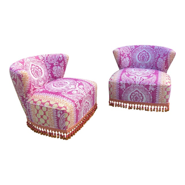 Mid-Century Modern Block Print Pattern Swivel Slipper Chairs - a Pair For Sale
