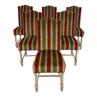 1900s Vintage Louis XIII Style Barley Twist Bleached Solid Walnut Dining Chairs - Set Of For Sale