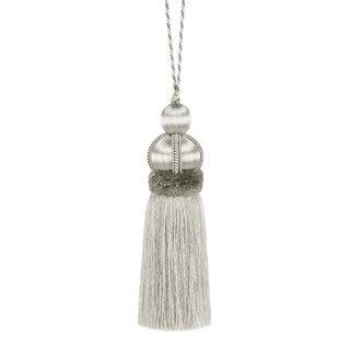 "Hollywood Regency Silver Key Tassel W Cut Ruche - Tassel Height - 5.75"" For Sale"
