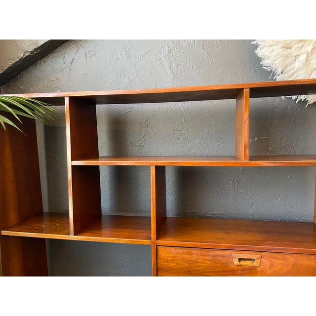 Mid-Century Modern Danish Bookcase With Secretary Desk For Sale - Image 4 of 11