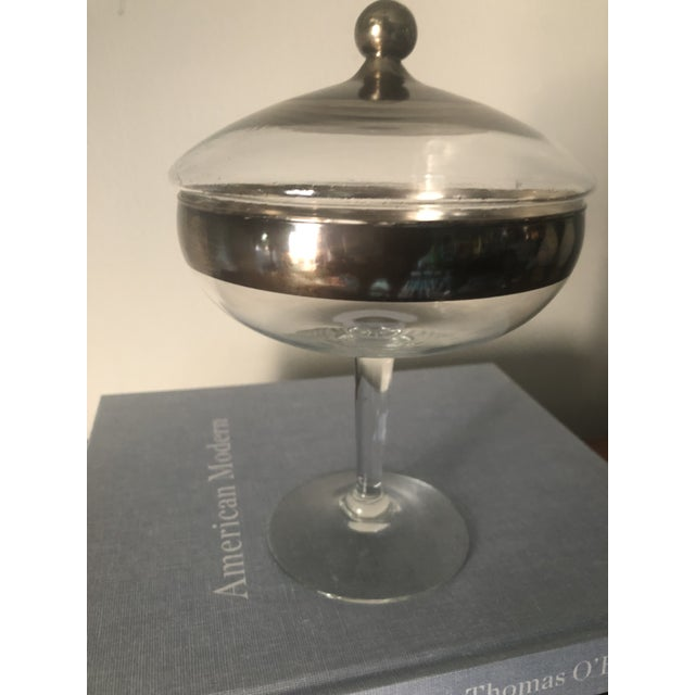Modern Dorothy Thorpe Silver Band Footed Compote and Bowl For Sale - Image 3 of 6
