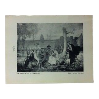 """Circa 1940 """"Ludus Pro Patria"""" by Pierre Puvis De Chavannes Masterpiece of Art Print For Sale"""