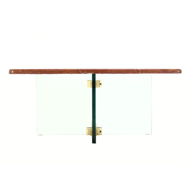 Early 20th Century Glass X Cross Base & Marble Top Coffee Table For Sale - Image 5 of 6