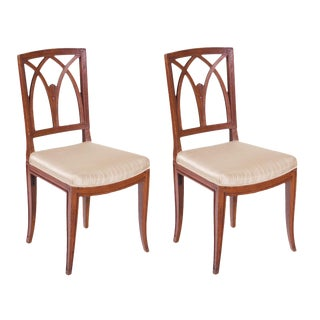 Italian Neoclassical Walnut Chairs - A Pair