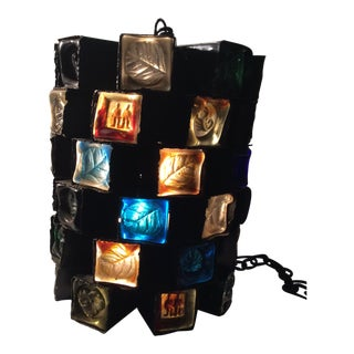 1950s Felipe Delfinger Modernist Brutalist Large Hanging Pendant Light For Sale