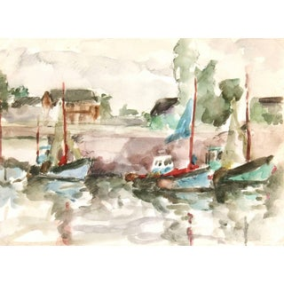 French Watercolor - Fishing Boats For Sale