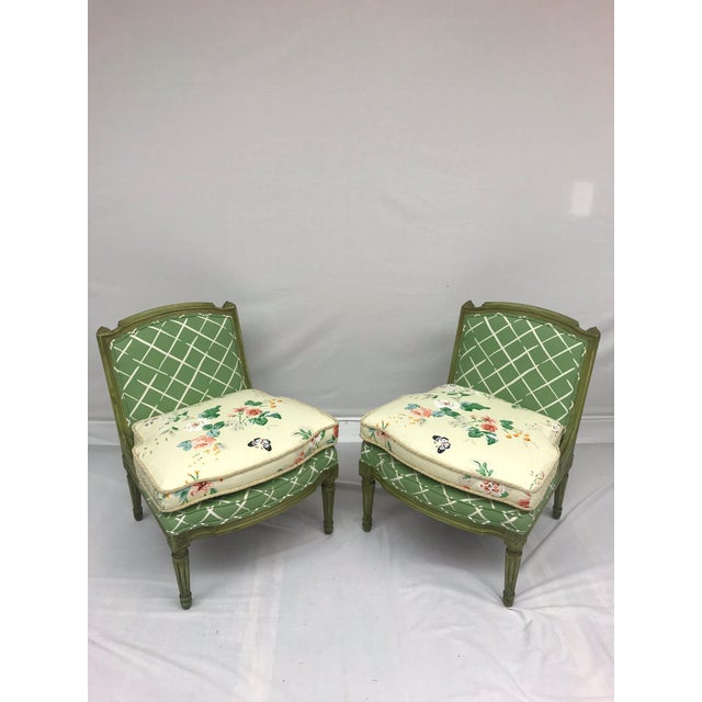 French Style Green-Painted Slipper Chairs - A Pair - Image 2 of 13