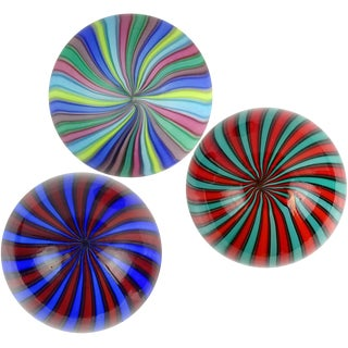 Fratelli Toso Italian Murano Italian Art Glass Rainbow Blue Red Green Orange Paperweights - Set of 3 For Sale