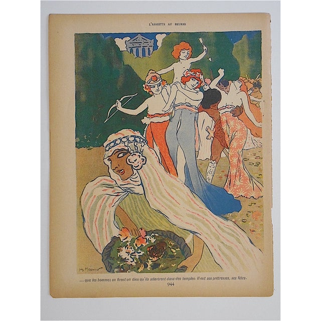 French Antique French Lithograph of Cupid For Sale - Image 3 of 3
