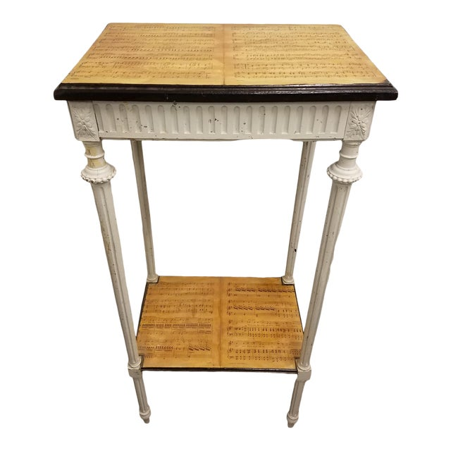 19th Century Country Decoupaged Sheet Music Plant Stand For Sale