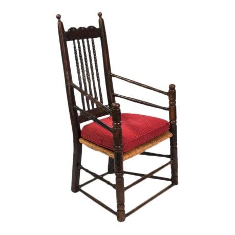 18th Century Vintage English Oak Bannister Armchair For Sale