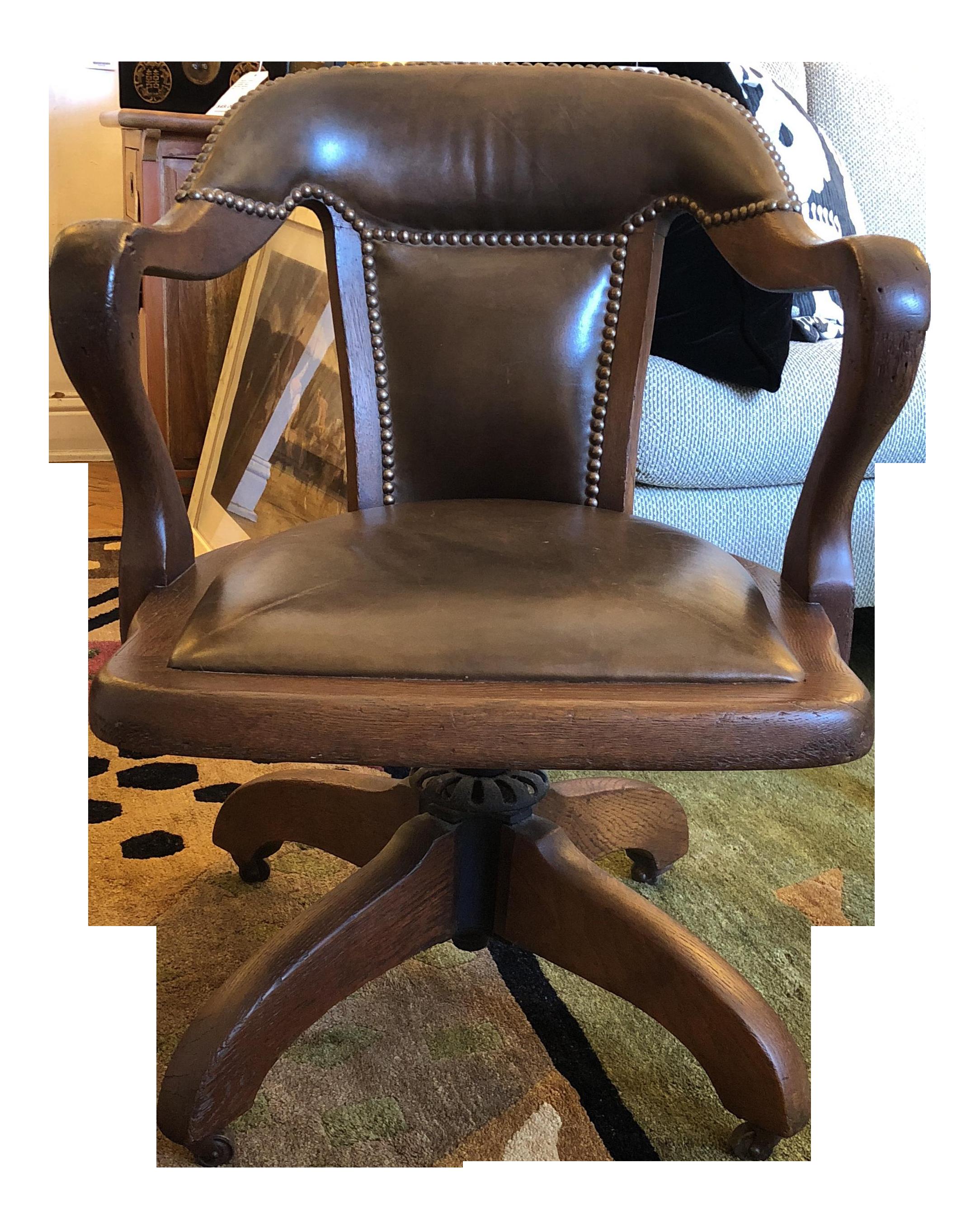 office chair vintage. Vintage Oak \u0026 Leather Office Chair R