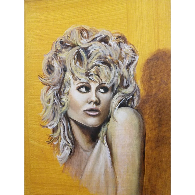This fabulous original painting on canvas was created in 2005 in Mid Century Style of woman with yellow background by a...