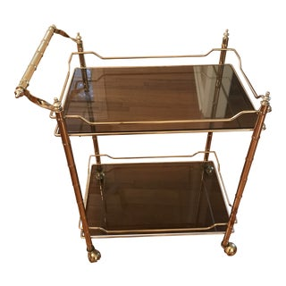 Mid-Century Gold Faux Bamboo Bar Cart For Sale