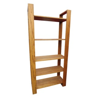 Mid-Century Modern Solid Oak 5 Shelf Etagere or Bookshelf For Sale