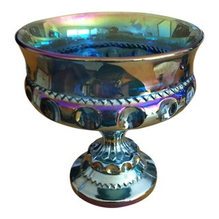 1940s Iridescent Carnival Glass Footed Dish For Sale