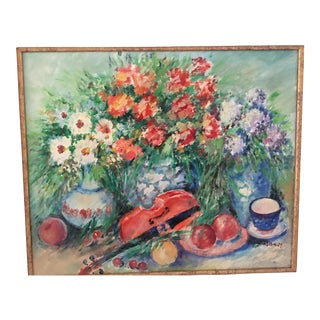 Contemporary Artist Signed Still Life Oil Painting on Canvas For Sale
