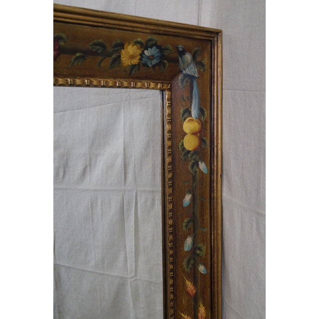 Floral Hand Painted Gilt Frame Beveled Wall Mirror For Sale - Image 10 of 10
