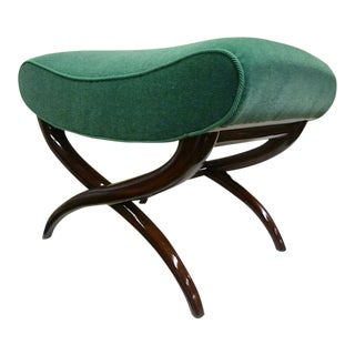 Jean Royère X-Shaped Bench Newly Upholstered in Mohair Velvet For Sale