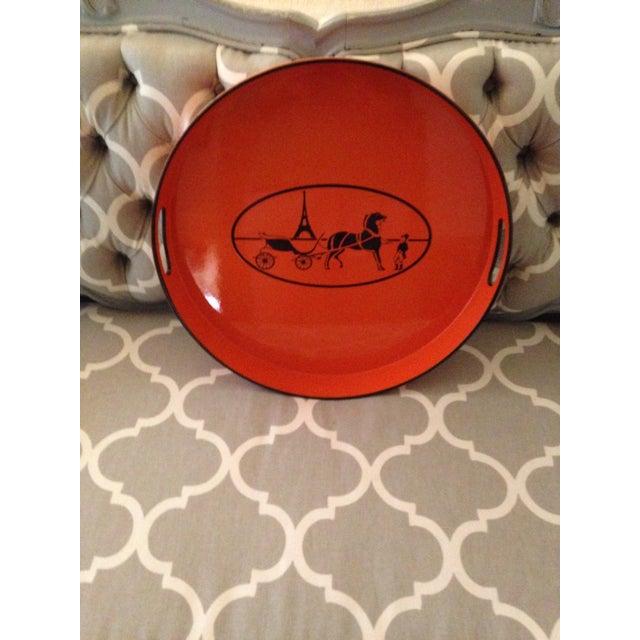 Orange Lacquered Hermes Inspired Bar Tray For Sale In Denver - Image 6 of 11