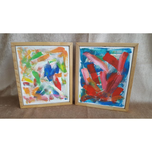 A Pair- Original Abstract Acrylic Paintings in Cubed Wooden Frames For Sale - Image 12 of 13