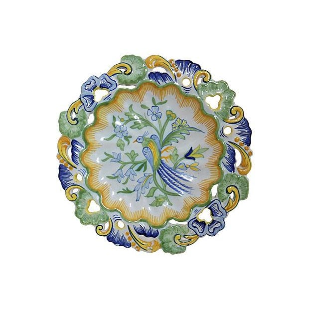 Antique Hand-Painted French Faience Wall Plate - Image 1 of 3
