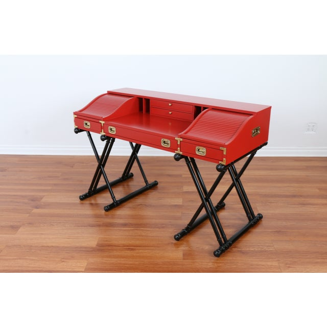 Red Hollywood Regency Campaign Executive Desk - Image 5 of 6