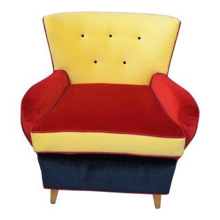1930s Vintage Velvet Svenska Art Deco Lounge Chair For Sale
