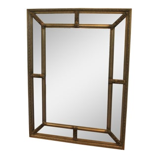 Antique Brass Wall Mirror For Sale