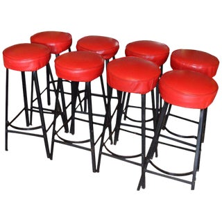 Bar Stools With Black Steel Frames and Startlingly Red Vinyl Seats. Set of 8 For Sale