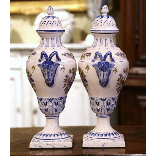 """Pair of Mid-Century French Hand Painted Faience """"Saint Clement"""" Urns With Lids For Sale - Image 9 of 13"""