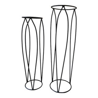 Mid-Century Modern Iron Flower Petal Plant Stands-A Pair For Sale