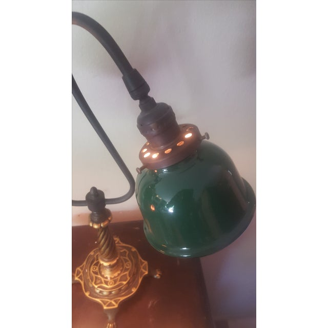 Vintage Industrial Two Arm Accent Lamp With Metal - Image 3 of 8