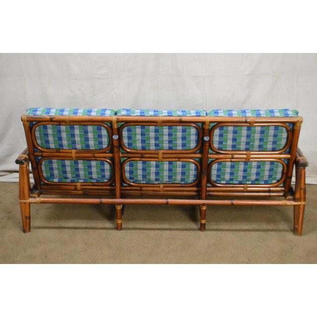 Blue Ficks Reed Vintage Rattan Bamboo Frame Sofa (B) For Sale - Image 8 of 13