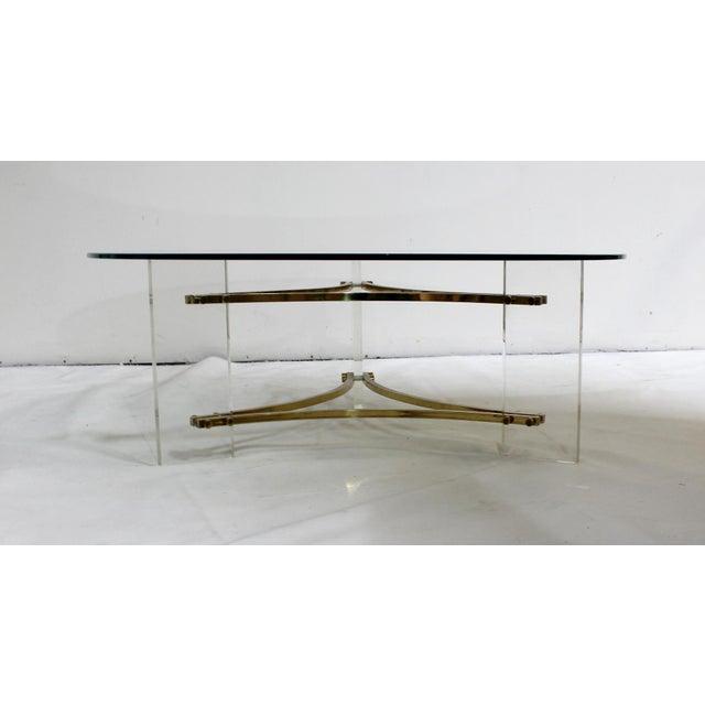 Charles Hollis Jones Charles Hollis Jones Mid-Century Brushed Brass & Acrylic Coffee Table For Sale - Image 4 of 9