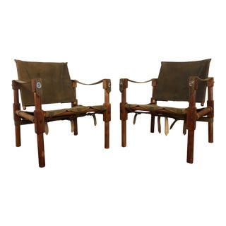 Vintage Leather and Wood Frame Safari Chairs For Sale