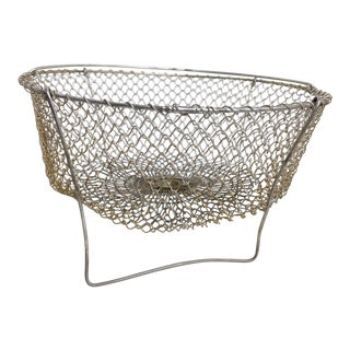 Vintage French Farm House Wire Mesh Egg Basket For Sale
