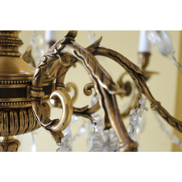 Bronze 19th Century Maison Bagues Palm Motif Eight Light Crystal & Bronze Chandelier = Neoclassical Style For Sale - Image 7 of 13