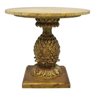 Italian Hollywood Regency Gilt Wood Carved Pineapple Travertine Top Side Table For Sale