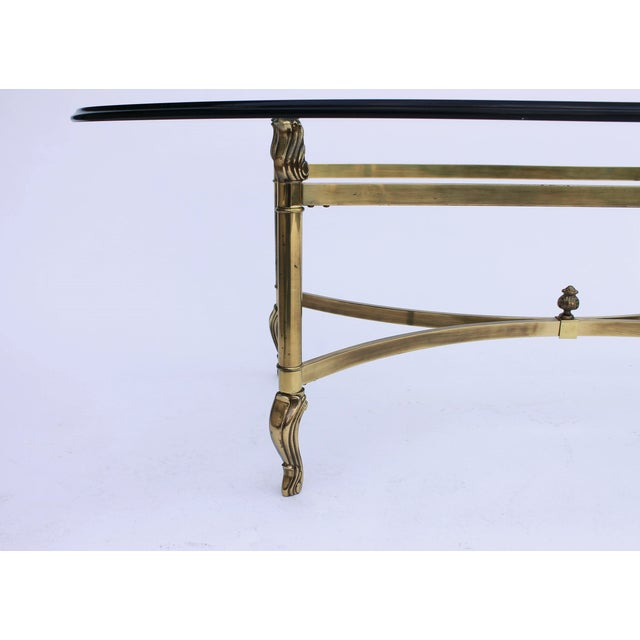 Oval Brass & Glass Coffee Table - Image 5 of 7