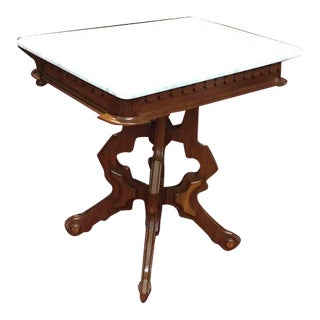 Antique Marble Top Victorian Table For Sale