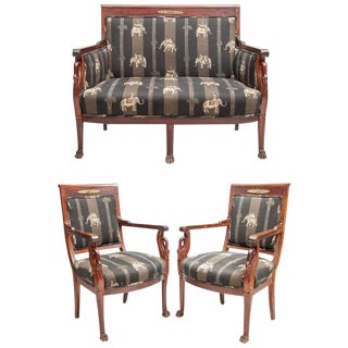 Empire Style Suite of Furniture With Mahogany Swan Carved Supports - Set of 3