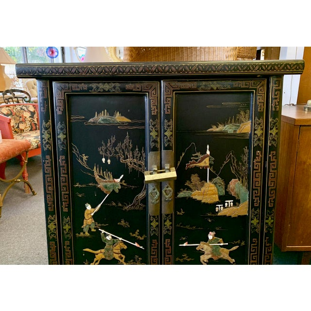1950's Vintage Black Lacquer Chinoiserie Armoire For Sale - Image 4 of 12